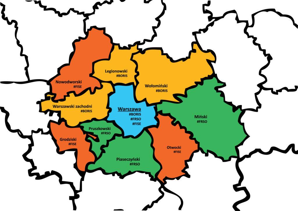 mapka powiatów obsługiwanych przez WOWES